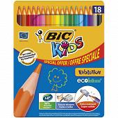 Bic crayons de couleurs bic kids évolution boite de 18