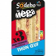 "Sodebo ""Le Méga"" club sandwich viennois thon oeuf 230g"