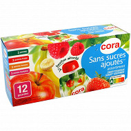Cora gourdes panachées  pomme, pomme fraise, pomme banane, pomme framboise SSA 12 x 90g