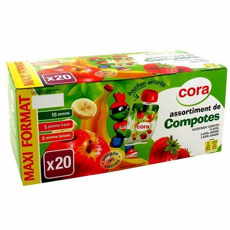 Cora kido compote panachés allégée  10 pomme, 5 pomme fraise, 5 pomme banane 20 x 90g