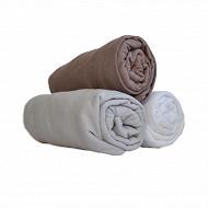 Lot de 3 draps housses jersey 60x120 blanc/perle/taupe Babidou