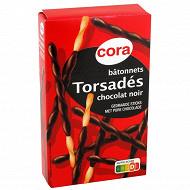 Cora bâtonnets torsades enrobés de chocolat noir 90g
