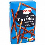 Cora bâtonnets torsades enrobés de chocolat au lait 90g