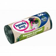 Handy bag sacs poubelle x10 poignée coulissante recyclé fixation élastique 50l