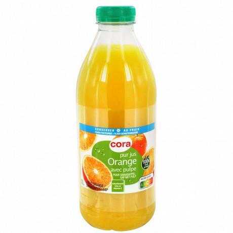 Cora pur jus orange avec pulpe frais 1 L