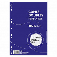 Copies doubles blanches perforées 21x29.7 cm 400 pages grands carreraux