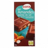 Cora chocolat au lait amandes et pointe de sel 200g