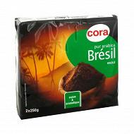 Cora café moulu pur arabica brésil  2 x 250g