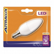 Attralux ampoule LED flamme dépolie E14 - 5.5 w équivalent 40 watts