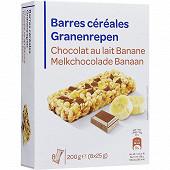 Barres céréalières chocolat banane x8 200g