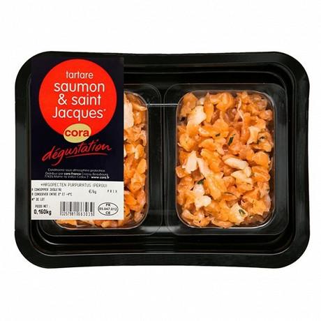 Cora dégustation tartare saumon et noix de Saint Jacques 2x80g