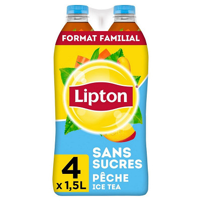 Lipton Lipton ice tea pêche zéro sucres format familial 4x1.5l