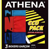 Lot 3 boxers Trio Choc EcoPack Athena 3000 GRIS/ROUGE/NOIR 12 ANS