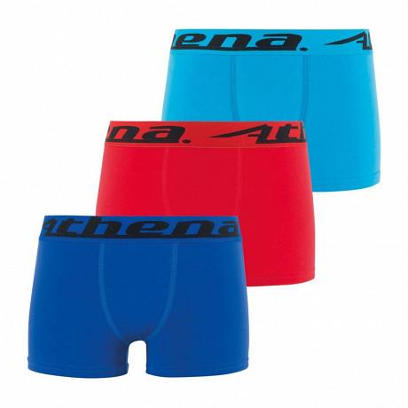 Lot 3 boxers Trio Choc EcoPack Athena 3000 GRIS/ROUGE/NOIR 16 ANS