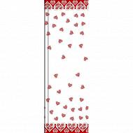 Cora nappe rouleau décor coeur blanc/rouge 6x1m35