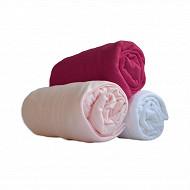 Lot 3 draps housses jersey 60x120 blanc/rose birdy/framboise Babidou