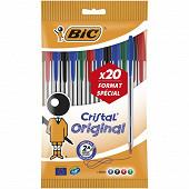 Bic stylo bille cristal assortis x 20 format spécial