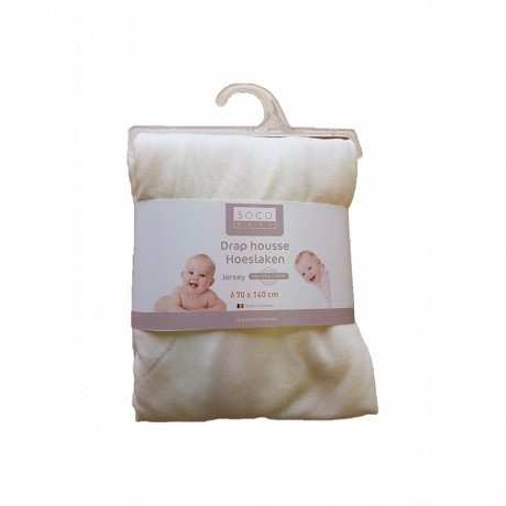 Drap housse 70x140 coton 100% coton blanc Socobaby