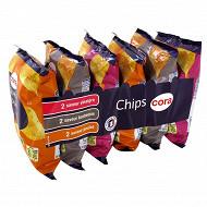 Cora multipack chips saveur poulet, barbecue et vinaigre 6 x 30g