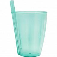 Mesa bella verre vert translucide à paille intégrée 30cl