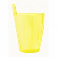 Mesa bella verre jaune translucide à paille intégrée 30cl