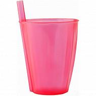 Mesa bella verre rose translucide à paille intégrée 30cl