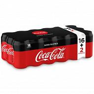 Coca cola zéro boite 33clx18 16+2 boites offertes