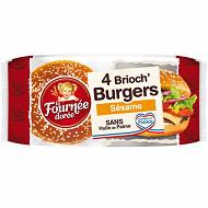 La fournée dorée brioch' burger sésame x4 250g