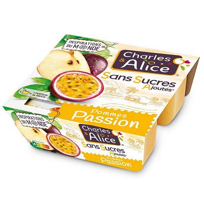 Charles & Alice Charles & Alice spécialité de pommes passion 4x97g sans sucres ajoutés