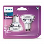 Philips 2 ampoules LED GU10 4,6wéquivalent 50 watts blanc chaud