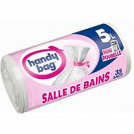 Handy bag sacs poubelle x35 à lien salle de bain 5l