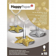Marrque verres x18 sparkling stars gold and silver en papier