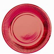 Cora assiettes x25 rouge métal ronde 15cm