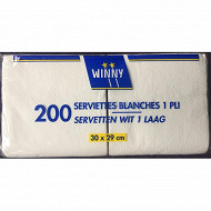 Serviettes x200 blanches 30x29cm