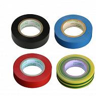 Prodelect assortiment 4 rubans adhesifs 10m noir rouge bleu jaune-vert