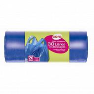 Cora sacs poubelle x20 à poignées / bretelles 30l