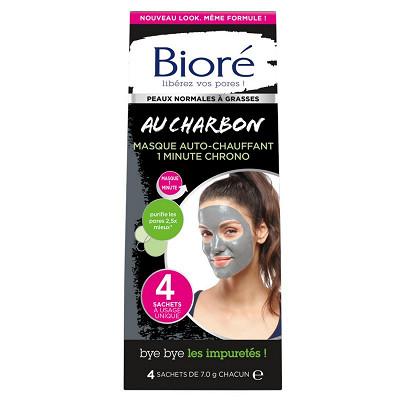 Bioré Biore masque auto-chauffant 1 minute chrono au charbon