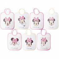 Lot de 7 bavoirs 22x27cm tête Minnie lacets Disney baby