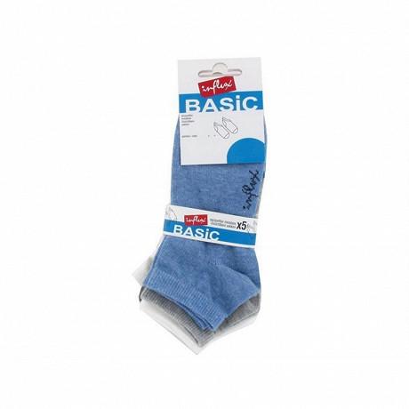 Lot de 5 paires de socquettes chinées garçon Influx Basic BLEU/GRIS/ECRU 36\40