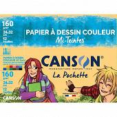 Canson - Pochette 12 feuilles mi teintes 24x32 cm couleurs vives 160 grammes