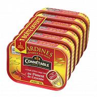 Connétable 1/5 sardines à l'huile d'olive et au piment de Cayenne 135g lot 5+1