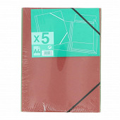 5 chemises A4 carte forte assorties