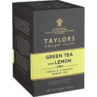 Taylors of harrogate thé vert au citron 20 sachets 40g