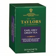 Taylors of harrogate thé vert earl grey 20 sachets 50g