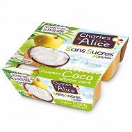 Charles & Alice spécialité de pommes coco citron vert 4x97g sans sucres ajoutés