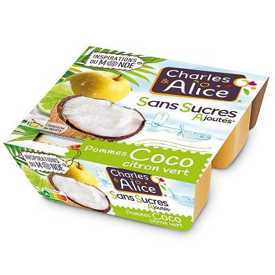 Charles & Alice Charles & Alice spécialité de pommes coco citron vert 4x97g sans sucres ajoutés
