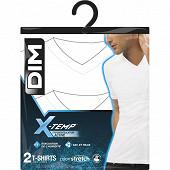 Lot de 2 tee shirts col V ligne X-temp Dim BLANC/BLANC S