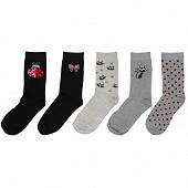 Lot de 5 paires de mi chaussettes fantaisies et unies influx basic CHAT/COCCINELLE 37\41
