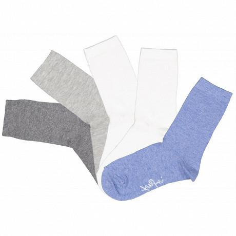 Lot de 5 paires de mi chaussettes unies chinées garçon Influx Basic BLEU/GRIS/ECRU 36\40