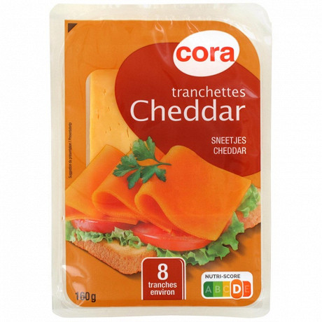 Cora tranchettes cheddar X8 32% mg/pt lait pasteurisé 160g